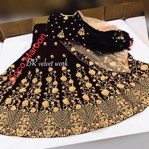 Coco Maroon Velvet Embroidered Wedding Lengha Choli Online Shopping
