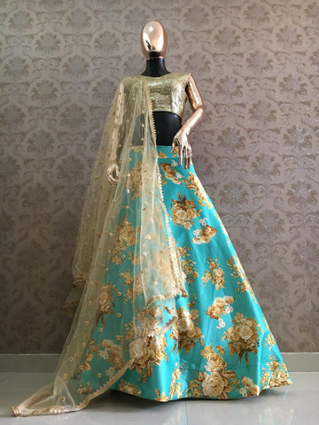 Sea Green Satin Floral Printed Online Lehenga Shopping Sites