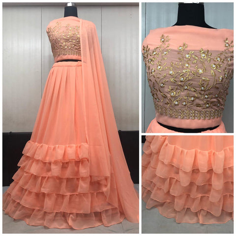 Peach Georgette Ruffle Latest Lehenga Choli Designs