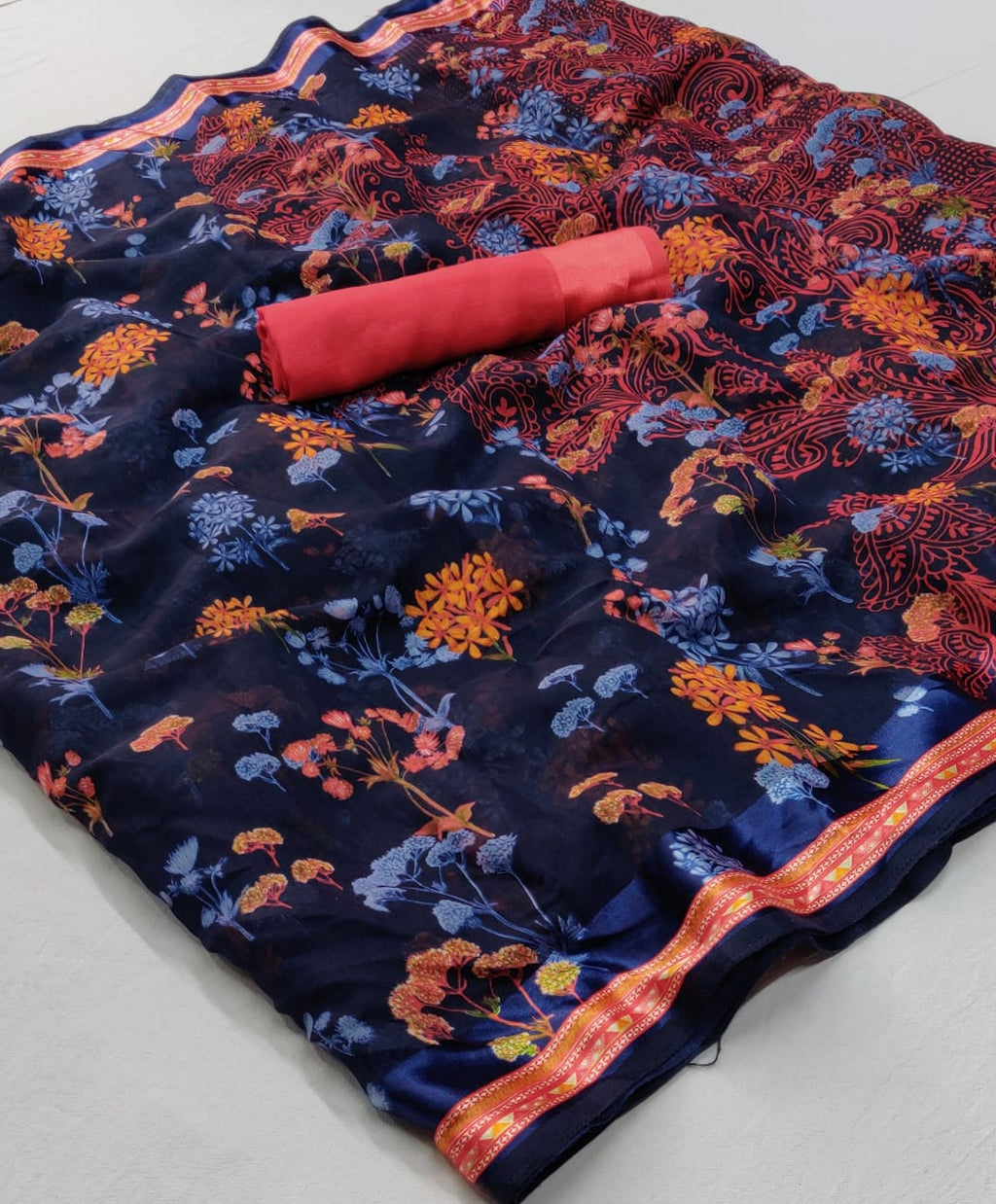 Navy Blue Multi Color Floral Linen Saree Digital Print And Blouse