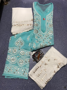 Blue Chikankari Kurti 3 pc set Georgette Gota patti Combo