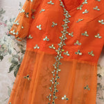 Orange Net Jacket Look Pant Suits Bollywood Dresses