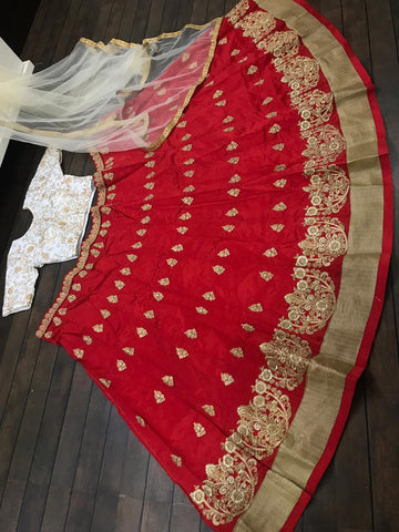 Red Taffeta Embroidered Party Wear Ghagra Choli India Online
