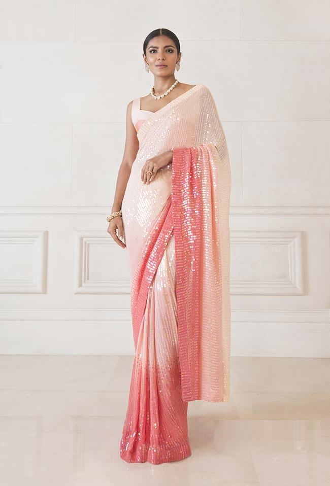 Peach Ombre Sequin Saree Latest Party Saree Designs Online