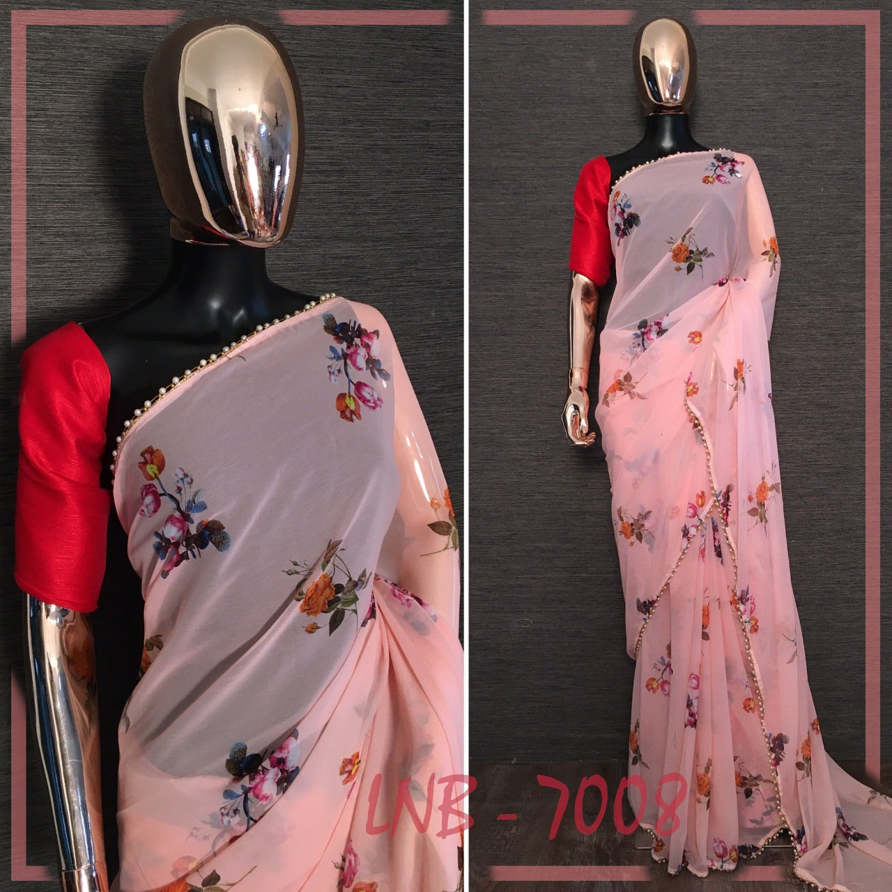 Light Peach Flower Print Georgette New Indian Sarees Design