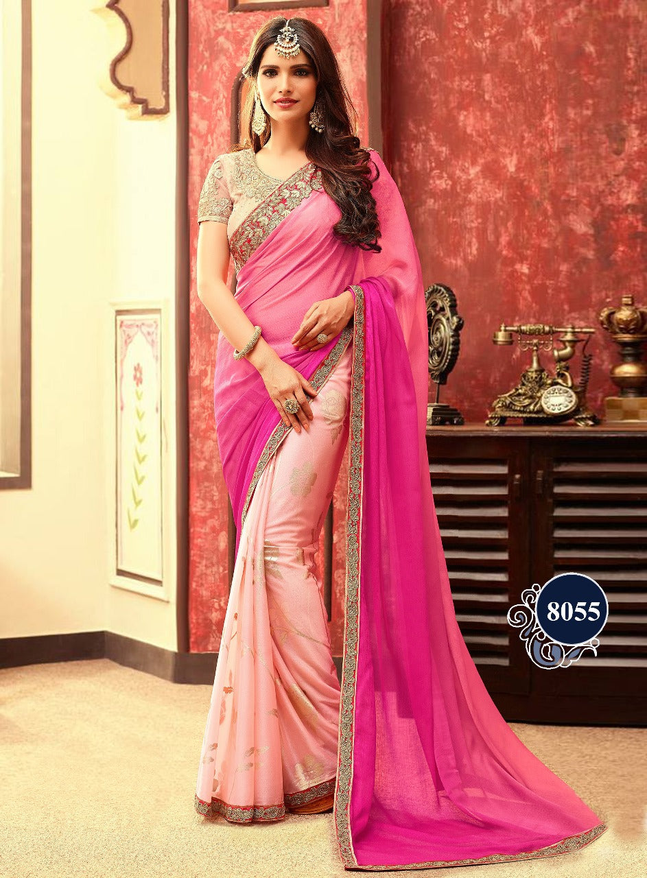 Pink And Peach Designer Bollywood Sarees On Ebay