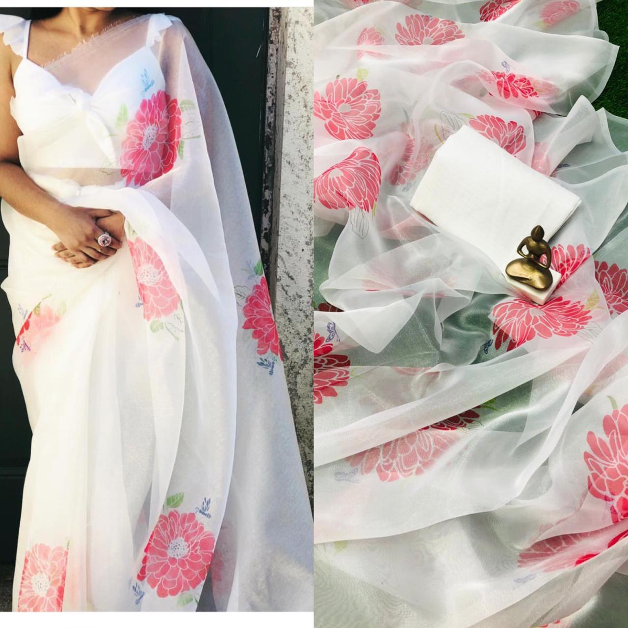 White and Pink Floral Digital Printed Latest Organza Saree and Blouse Set