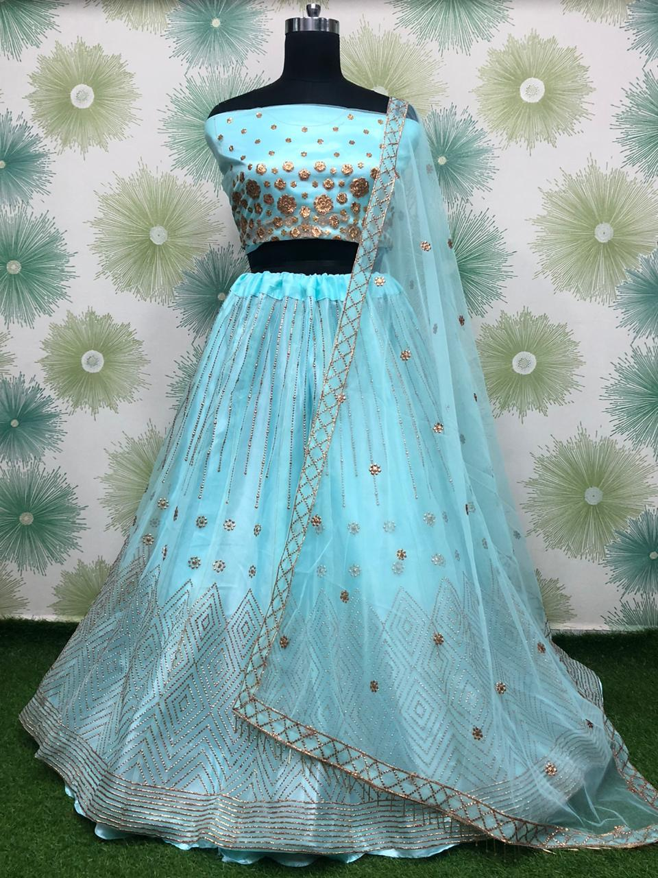 Light Blue Net Embroidered Latest Lehenga Design With Price