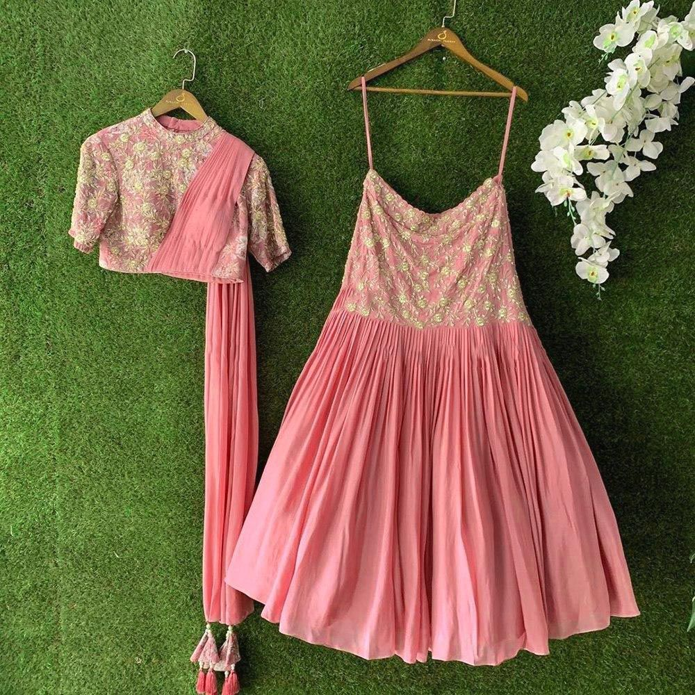 Pink Georgette Embroidered Lehenga Dress Online Shopping