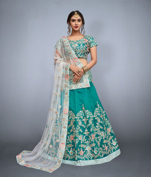 Green Embroidered Art Silk Ghagra Choli Online Shopping