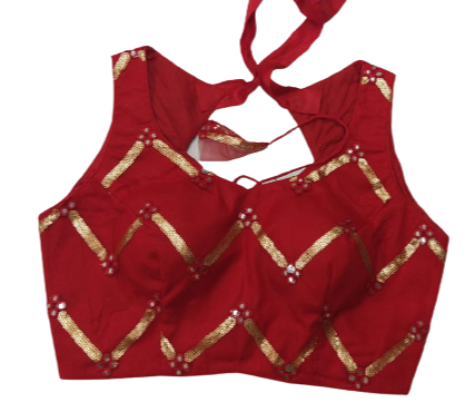Red Sleeveless Latest Fancy Blouse Designs Online Shopping