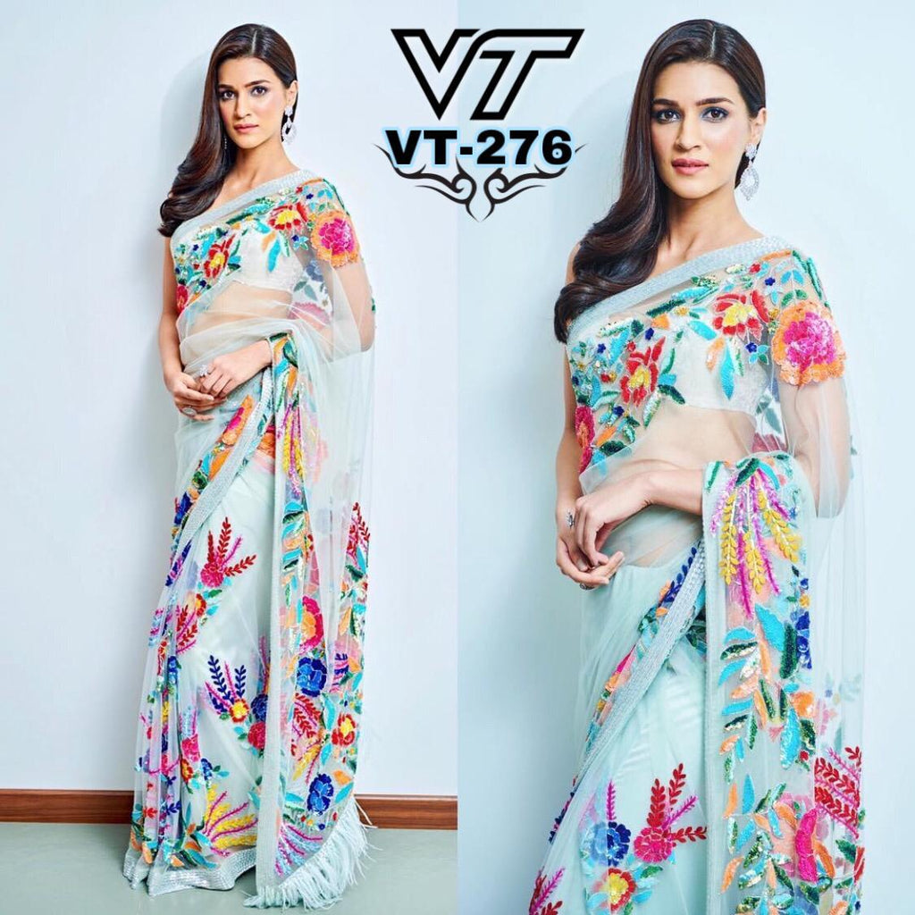 Kriti Sanon Pastel Blue Embroidered Beautiful Net Party Sarees Online