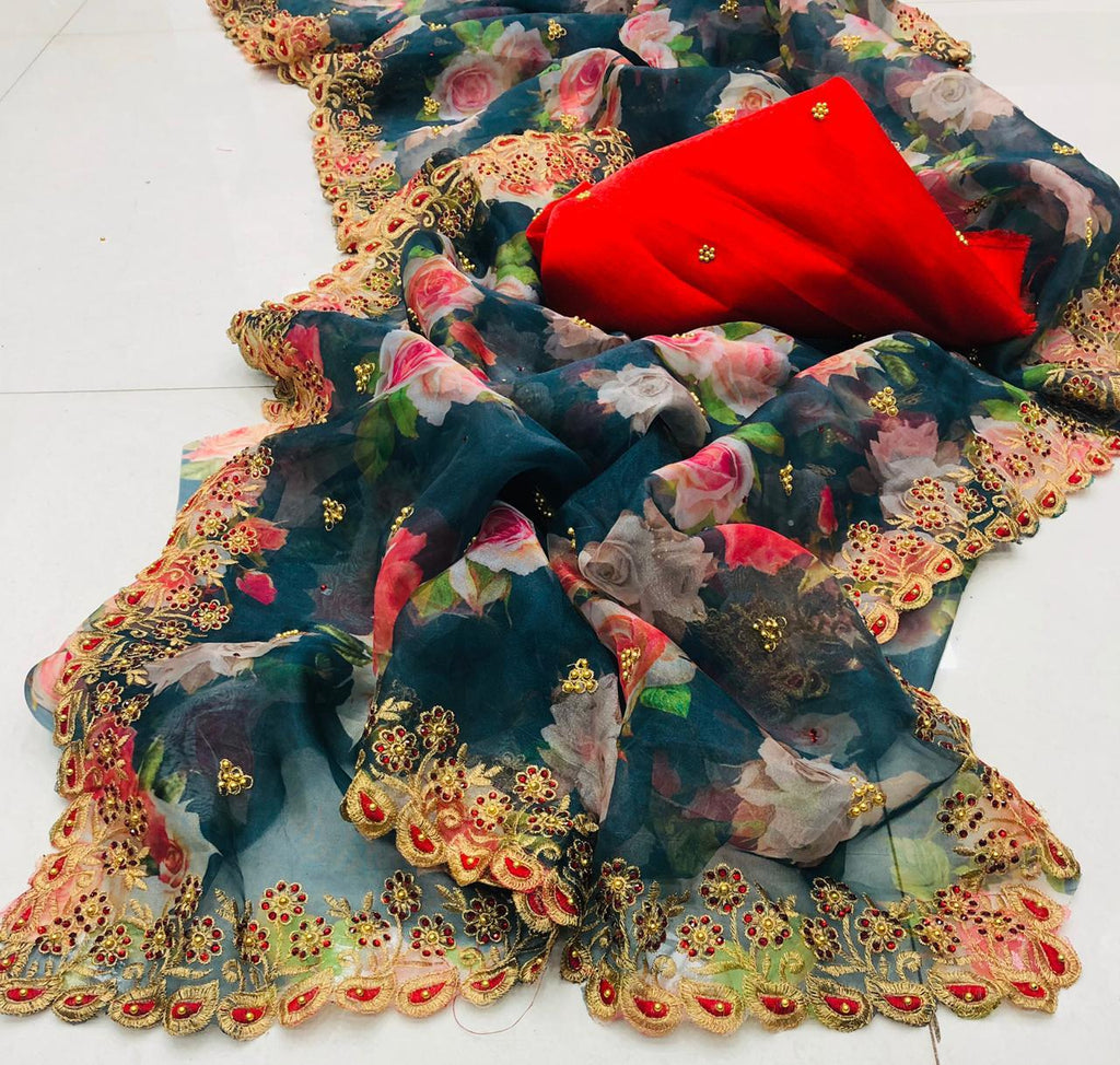Black Organza Silk Floral Print Latest Indian Saree Online