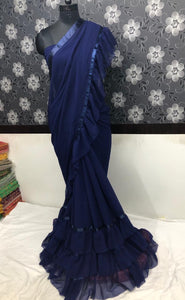 Navy Blue Georgette Ruffle Saree Designs Online Shopping India