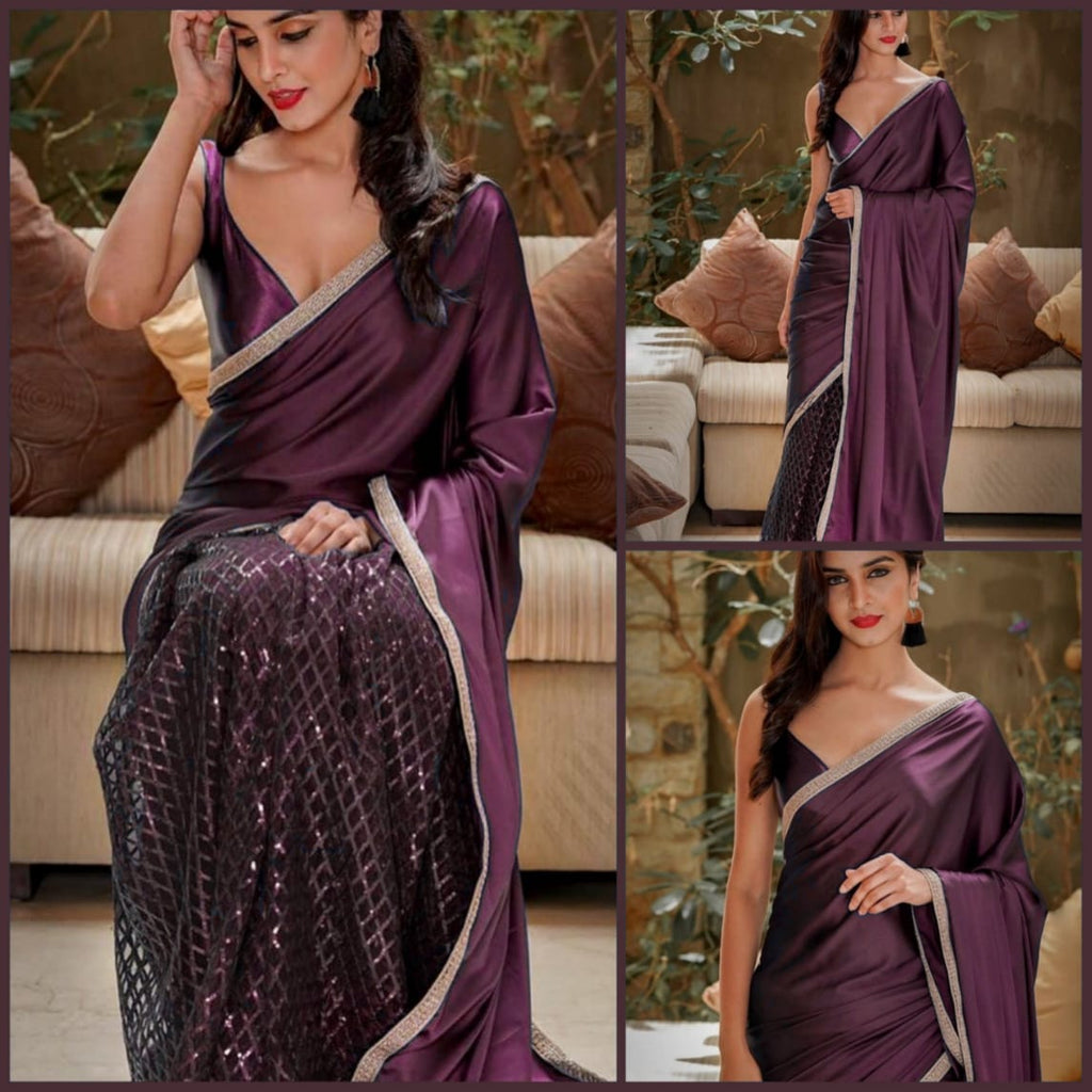 Beautiful Wine color Net Saree with Pallu in Silk and Satin Blouse designer sarees with price