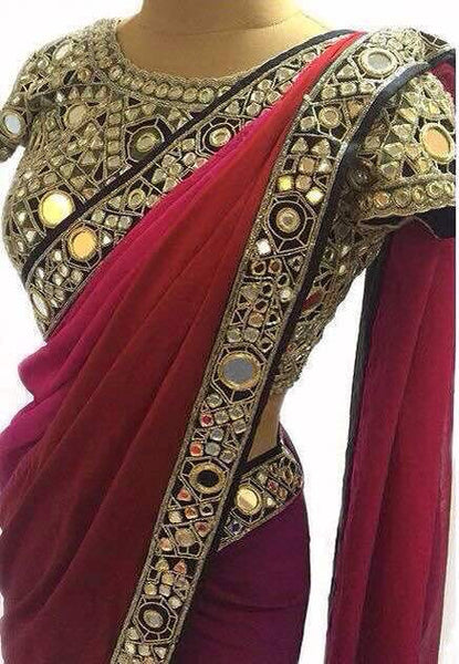 Red Mirror Handwork Bollywood Dress Collection