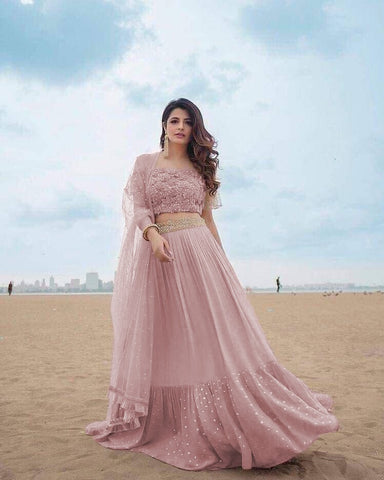 fbb11d237 Pink Georgette Latest Party Wear Fancy Lehenga Choli Online ...