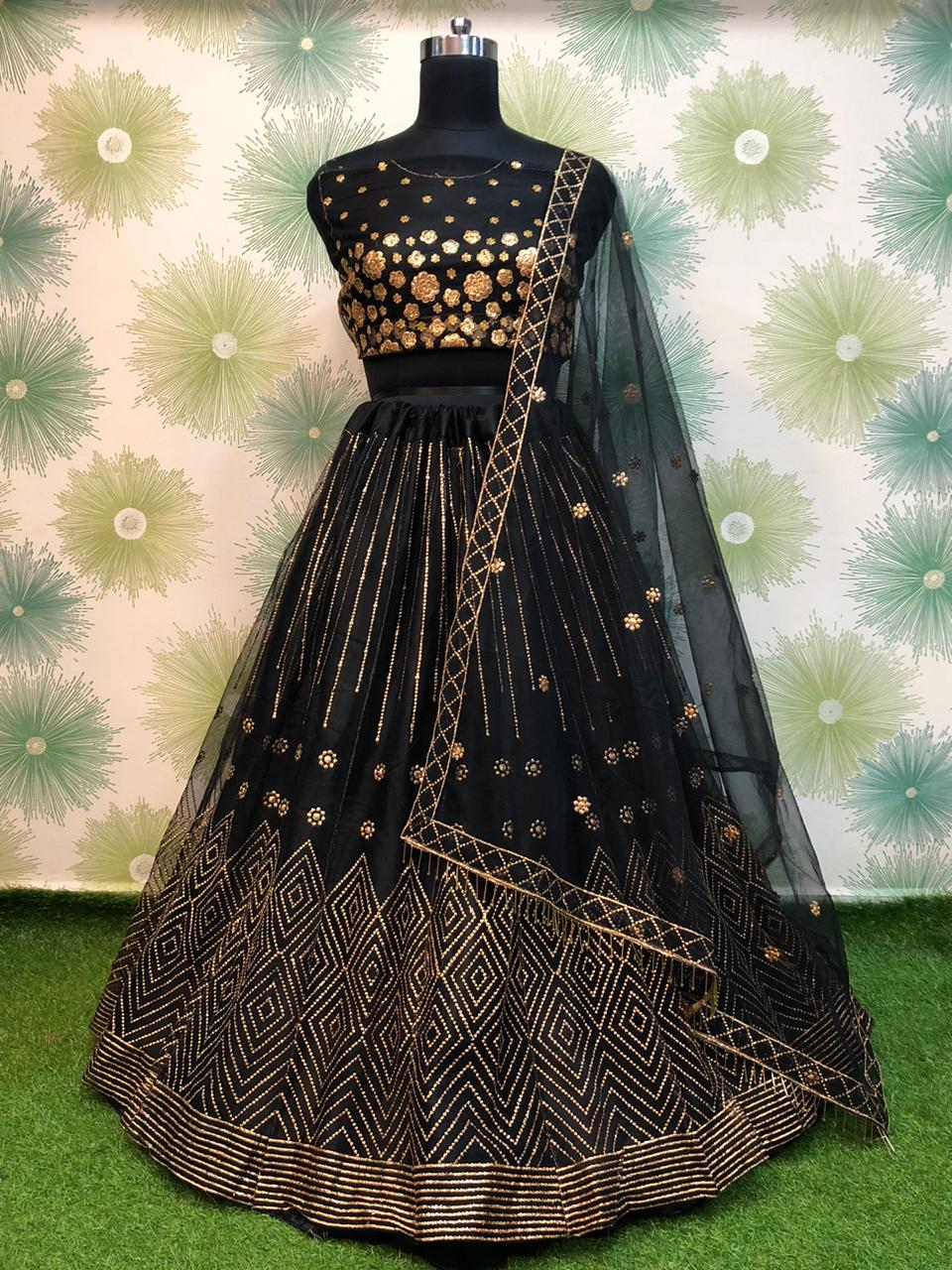 Black Net Embroidered Latest Lehenga Dress Online Shopping