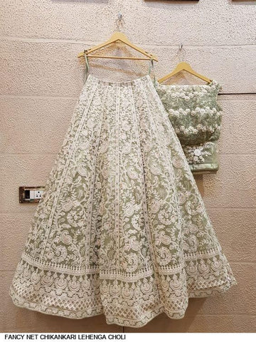 White Net Latest Designs Royal Lucknavi Chikankari Lehenga Choli Online