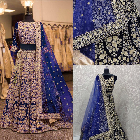 Navy Blue Embroidered Latest Wedding Lehenga Online Buy