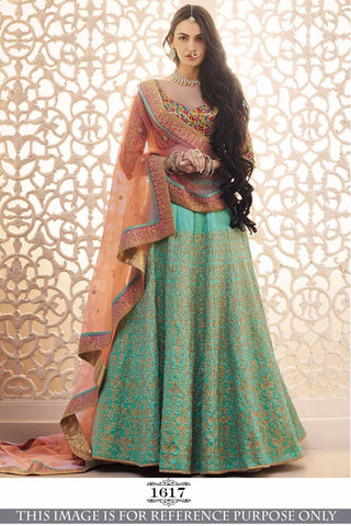 Sea Green Chaniya Choli Designs For Wedding