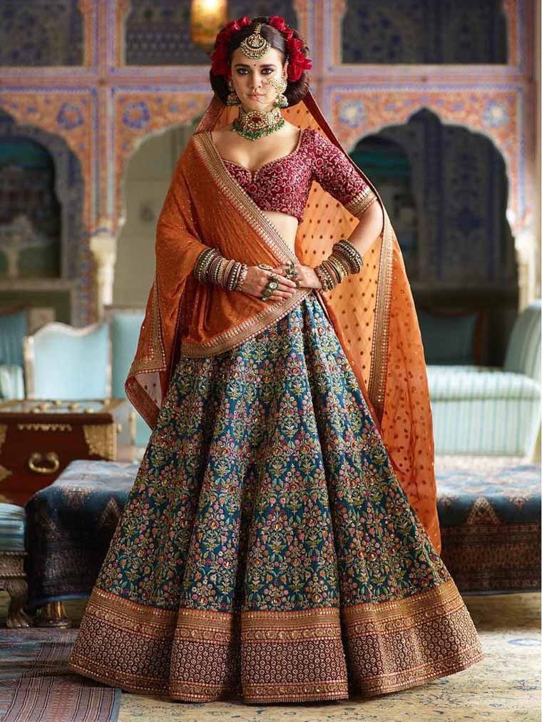 Blue Embroidered Banarasi Silk Wedding Wear Lengha Choli Online Shopping
