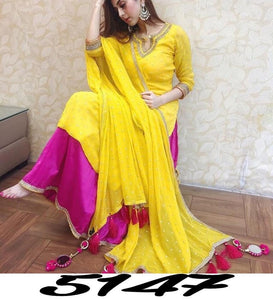 Yellow Georgette Beautiful Salwar Palazzo Pant Suits Online Shopping