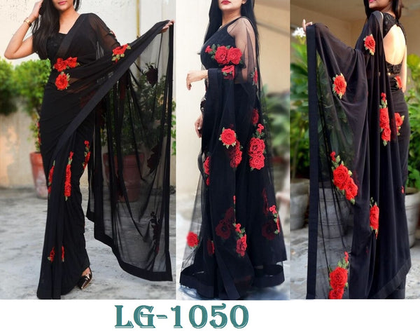 Black Georgette Flower Embroidery Party Saree Blouse Online