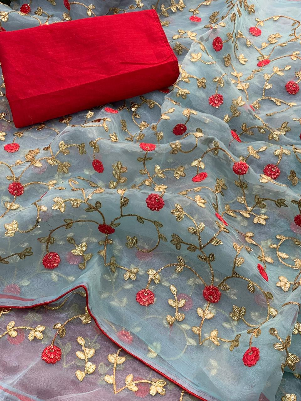 Light Bluish Grey Pure Organza Latest Sarees Online Shopping India