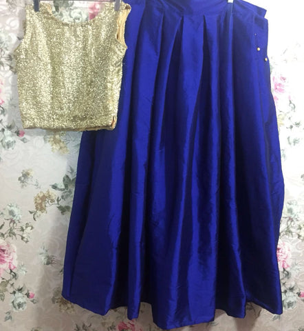 Crop Top And Blue Silk Dress Lehenga Choli ,Indian Dresses - 2