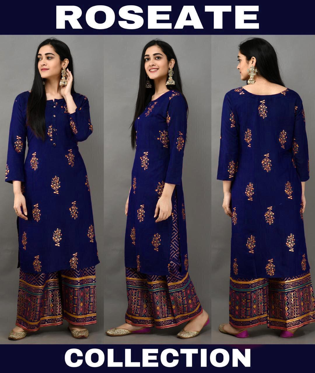 Blue Foil Print Latest Kurti Palazzo Suit Kameez Online Shopping