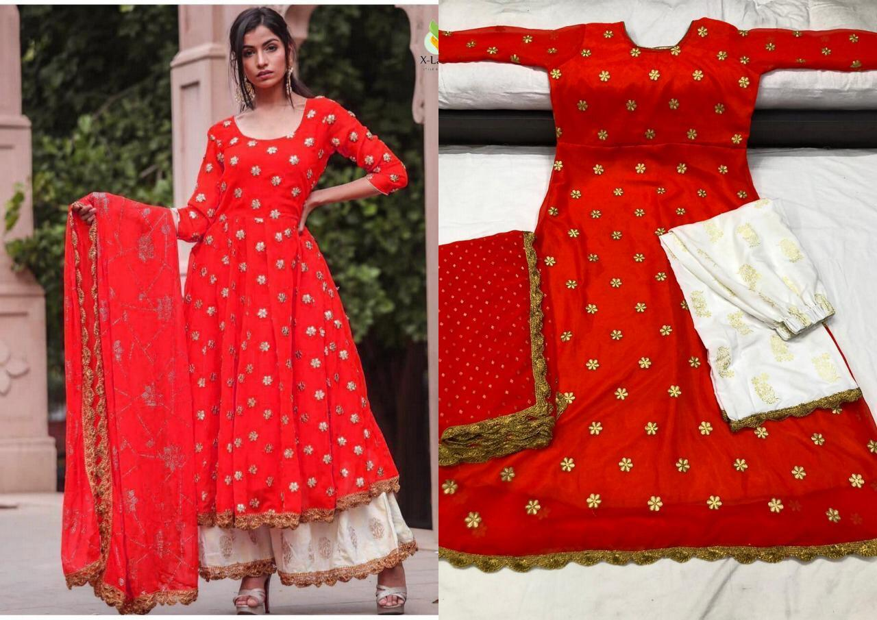 Red Georgette Latest Fashion Kurti Palazzo Suits Online Buy