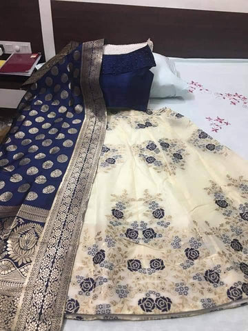 Cream And Navy Blue Banarasi Brocade Indian Lehenga Online Buy