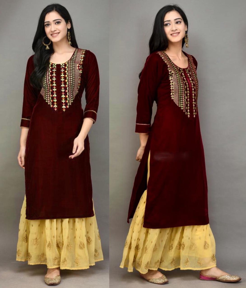 Maroon Velvet Embroidered Kurti Sharara Salwar Suits Online