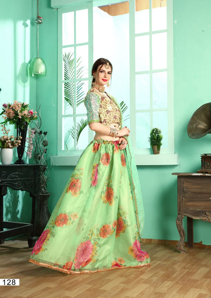 Green Organza Floral Printed With Swarovski Indian Party Wear Lehenga