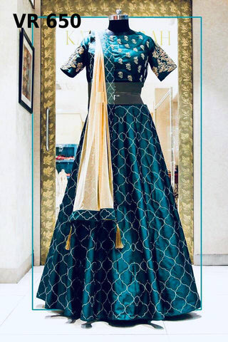 Teal Banglori Satin Indian Lehenga Choli For Party Wear