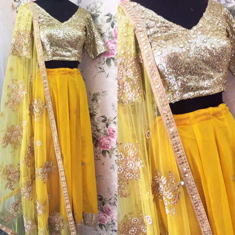 Groovy Yellow Georgette Online Lehenga Shopping India ,Indian Dresses - 2