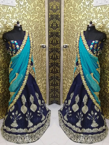 Banglori Silk Navy Blue Bollywood Designer Lehengas ,Indian Dresses - 2