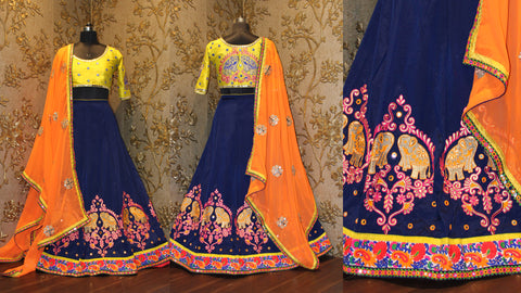 Blue And Yellow Embroidery Work Lehenga Online Shopping