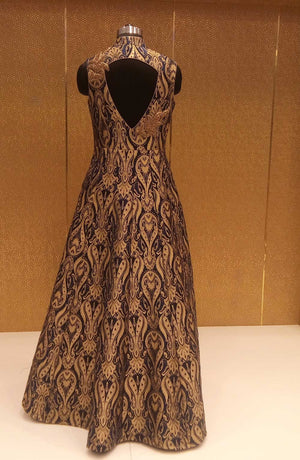 Black Gold Brocade Designer Replicas Gown Online Shopping India