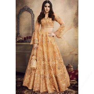 Gold Color Embroidered Tissue Latest Lehenga Choli Online