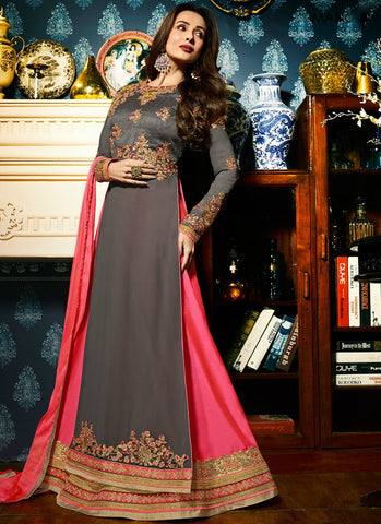 Malaika Gray Georgette Long Choli Fashionable Lehenga Cholis