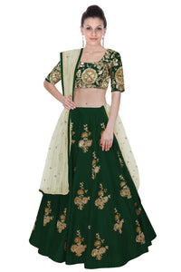 Embroidered Art Silk Indian Choli Designs In Green Color