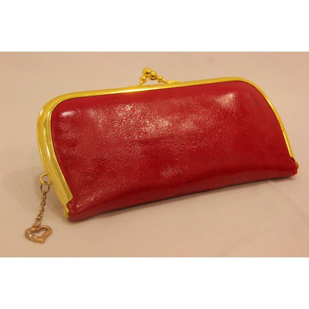 Hot Red Leather Tick Clutch ,Indian Dresses - 1