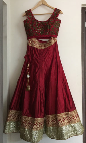 Maroon Art Silk Replica Indian Lehenga Choli Designs