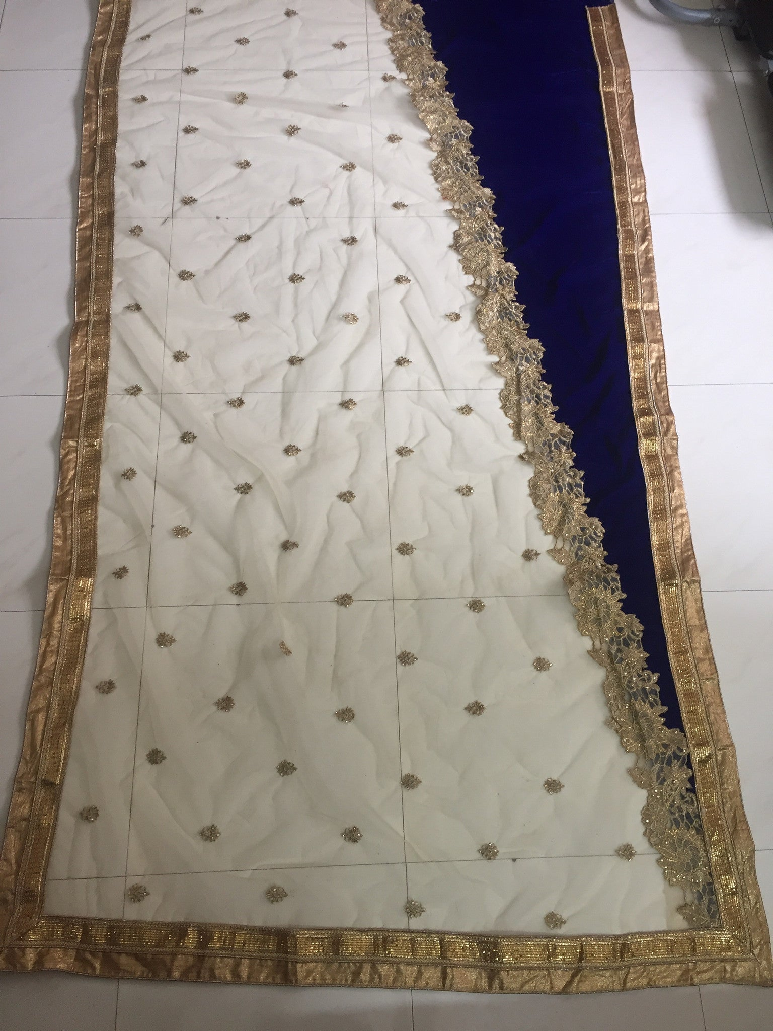 Chic Blue And Beige Bollywood Designer Saree ,Indian Dresses - 2