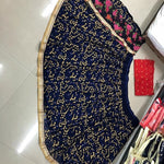 Navy Blue Embroidered Georgette Party Wear Lehenga India Online