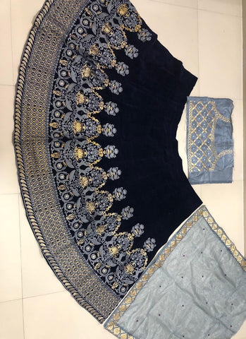 Sana Khan Dark  Blue Party Wear Lehenga Choli Online