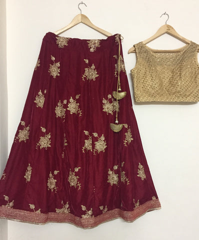 Dark Red Lehenga Skirt Online Indian Dresses