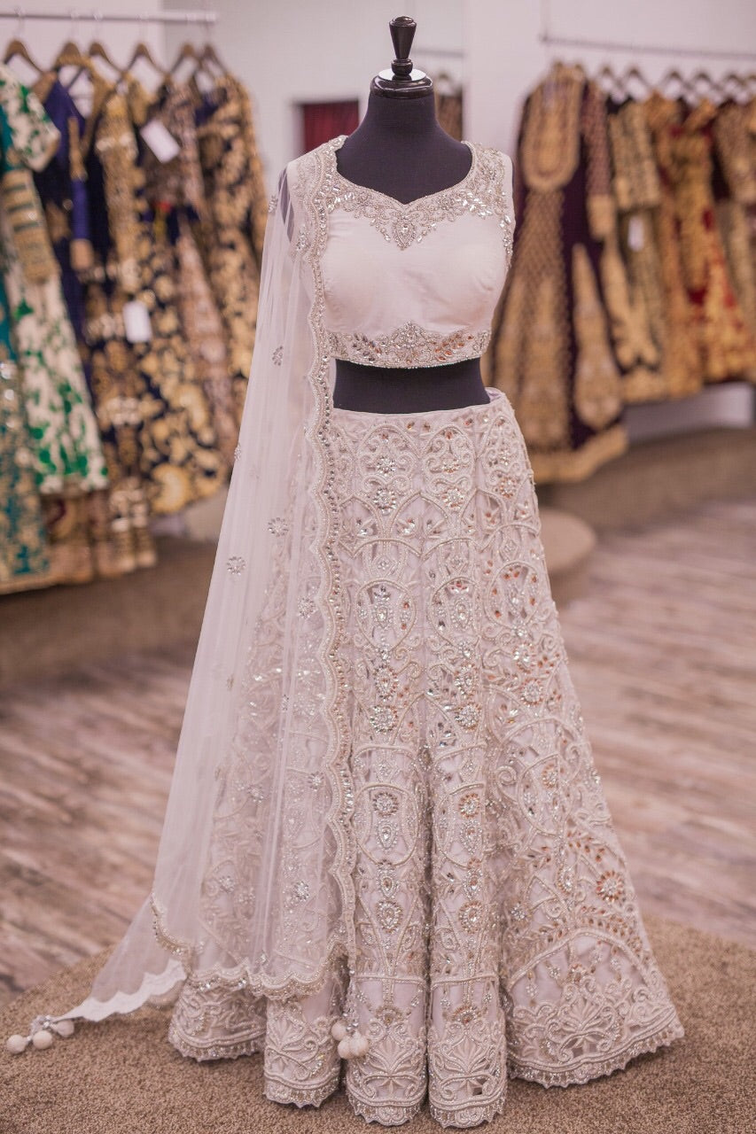 Off White Malai Silk Bollywood Replica Lehenga Choli